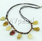 Wholesale Gemstone Jewelry-Tiger eye three-colored jade necklace