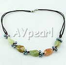 Wholesale Gemstone Jewelry-three-colored jade gum metal pearl necklace