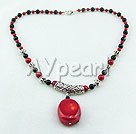 Discount Bloodstone black agate coral necklace