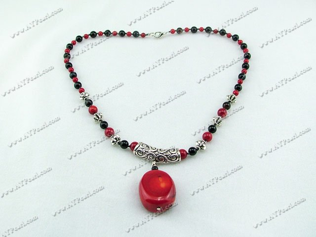 Bloodstone black agate coral necklace
