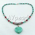 Black agate turquoise bloodstone necklace