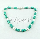 coin pearl turquoise necklace