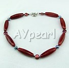 pearl red carnelian necklace