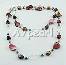 Pearl silver leaf agate necklace