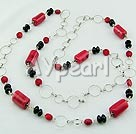 Discount red coral black agate necklace