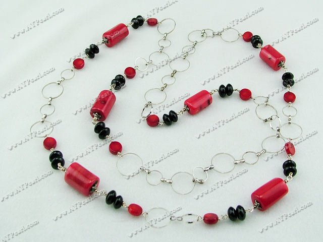 red coral black agate necklace