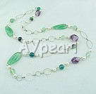 Wholesale pearl rainbow fluorite necklace