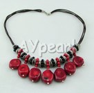 coral black stone necklace