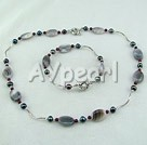 Wholesale pearl garnet gray agate set