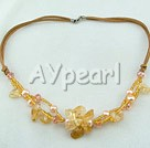 Wholesale pearl yellow crystal necklace
