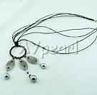 granat grå agat snäcka pärlor halsband
