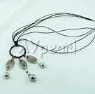 Wholesale garnet gray agate seashell beads necklace
