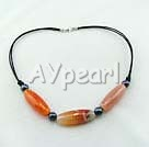 Wholesale black pearl agate necklace