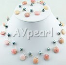 Wholesale Gemstone Jewelry-black pearl pink opal set