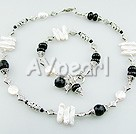 Wholesale pearl black agate set