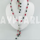 Wholesale Coral and black agate set