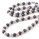 Wholesale white-black pearl necklace