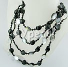 Wholesale Gemstone Jewelry-agate black lip shell necklace