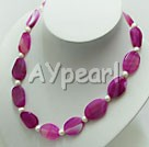 Wholesale Gemstone Jewelry-pearl agate necklace