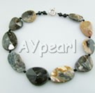 Wholesale Gemstone Jewelry-faceted cloudy agate necklace
