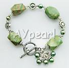 pearl grön jade armband