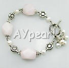 Wholesale Gemstone Jewelry-pearl rose quartz bracelet