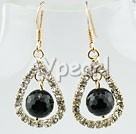 Wholesale earring-rhinestone black agate earrings