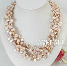 multi strand button pearl necklace