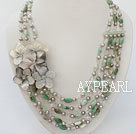 pearl white crystal green opal and black lip shell necklace 