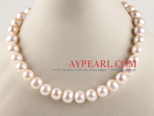 good luster 16.5 inches 12-13mm natural white color round pearl necklace