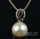 Champagne Color Tahitian Pearl Pendant With 18K Gold Chain and Diamond