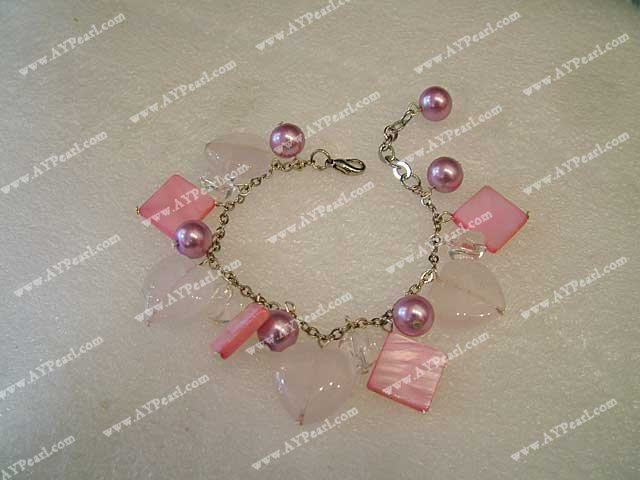 rose quartz shell bracelet