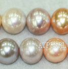 A grade round freshwater pearl mixed color beads,Mixed Color,12-14mm