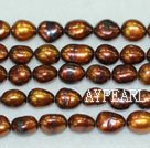 Baroque freshwater pearl beads,Brown,8-9mm