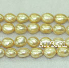 Freshwater pearl beads, dyed light yellow, 8-9mm baroque. Sold per 15-inch strand.