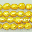 Freshwater pearl beads, dyed yellow, 8-9mm baroque. Sold per 15-inch strand.