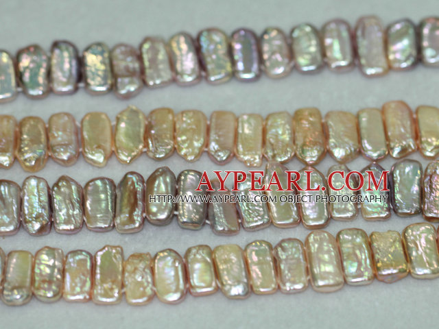 Freshwater pearl beads, white, 5*9*20mm band. Sold per 15.7-inch strand.