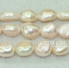 Freshwater pearl beads, dyed pink, 8-9mm baroque. Sold per 15-inch strand.