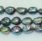 Baroque freshwater pearl beads,Black,8-9mm