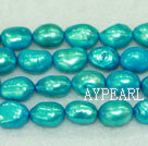 Baroque freshwater pearl beads,Turquoise Blue,8-9mm