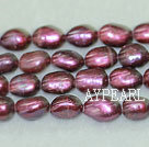 Freshwater pearl beads, dyed dark red, 8-9mm baroque. Sold per 15-inch strand.