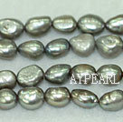 Freshwater pearl beads, dyed gray with green, 8-9mm baroque. Sold per 15-inch strand.