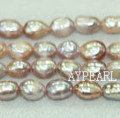 Freshwater pearl beads, purple, 8-9mm baroque. Sold per 15-inch strand.