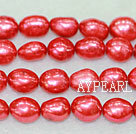 Freshwater pearl beads, dyed red, 8-9mm baroque. Sold per 15-inch strand.