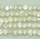 Freshwater pearl beads, dyed white, 5-6mm potato. Sold per 14-inch strand.