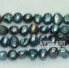 Freshwater pearl beads, dyed dark blue, 5-6mm potato. Sold per 14-inch strand.