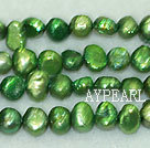 Potato shape freshwater pearl beads,Dark Green,5-6mm