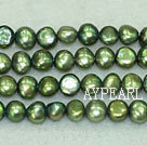 Freshwater pearl beads, dyed green, 5-6mm potato. Sold per 14-inch strand.