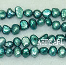 Freshwater pearl beads, dyed blue, 5-6mm potato. Sold per 14-inch strand.