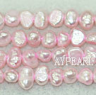 Freshwater pearl beads, dyed pink, 5-6mm potato. Sold per 14-inch strand.